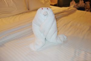 There was a large group of Jimmy Buffet fans sailing on our cruise, so this area was always packed and a bit rowdy at times though. Finishing our cocktails rather quickly, we decided to get another round from Bong at the Sugarcane Mojito Bar. Unfortunately, this bar was packed too, so we decided to do our own al fresco drinking out on the balcony and do some social media/blogging while sipping our drinks.