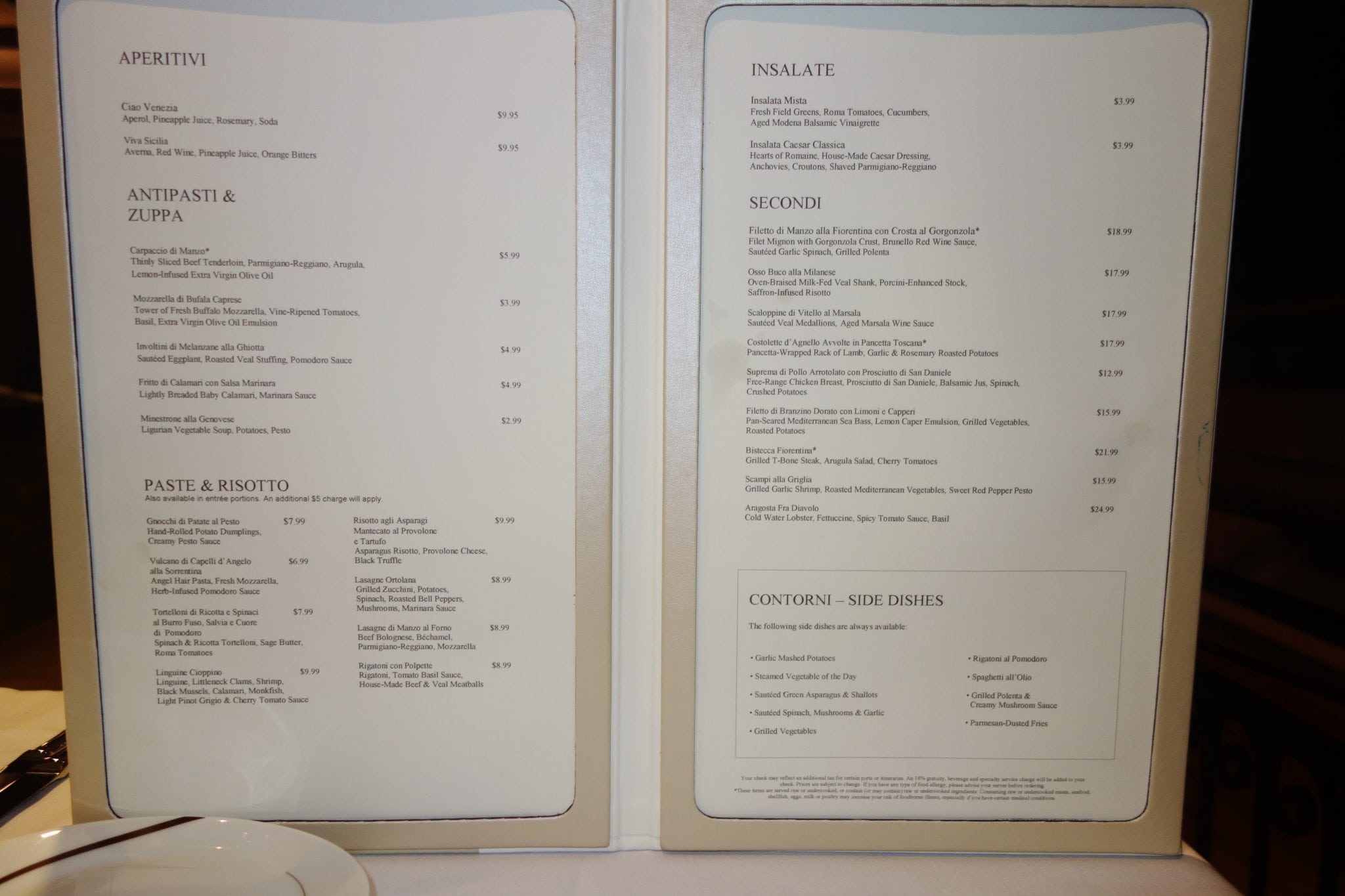 Menu Card Design Charge