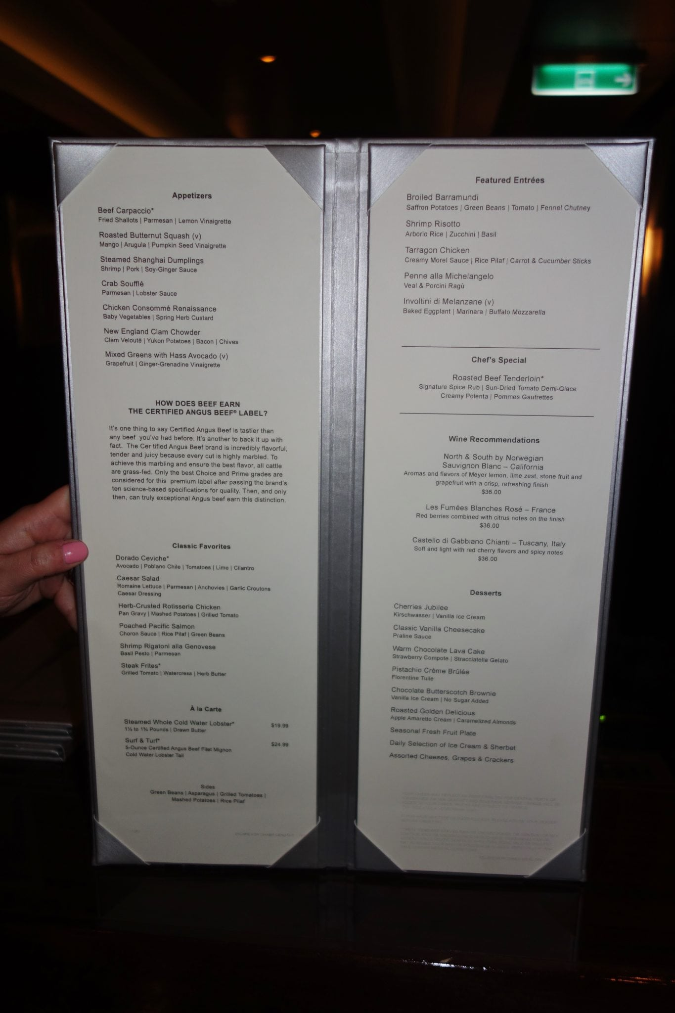 Norwegian Escape Menus