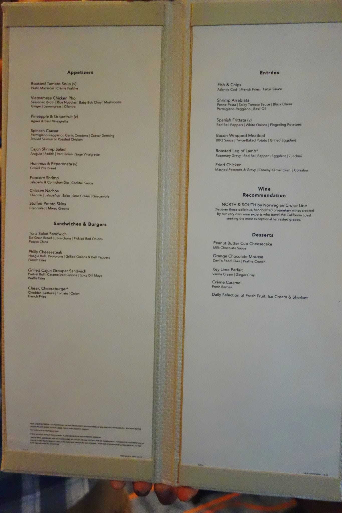 Norwegian Escape Manhattan Room Menu