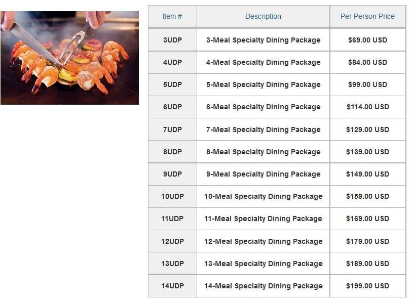 Norwegian Specialty Dining Prices