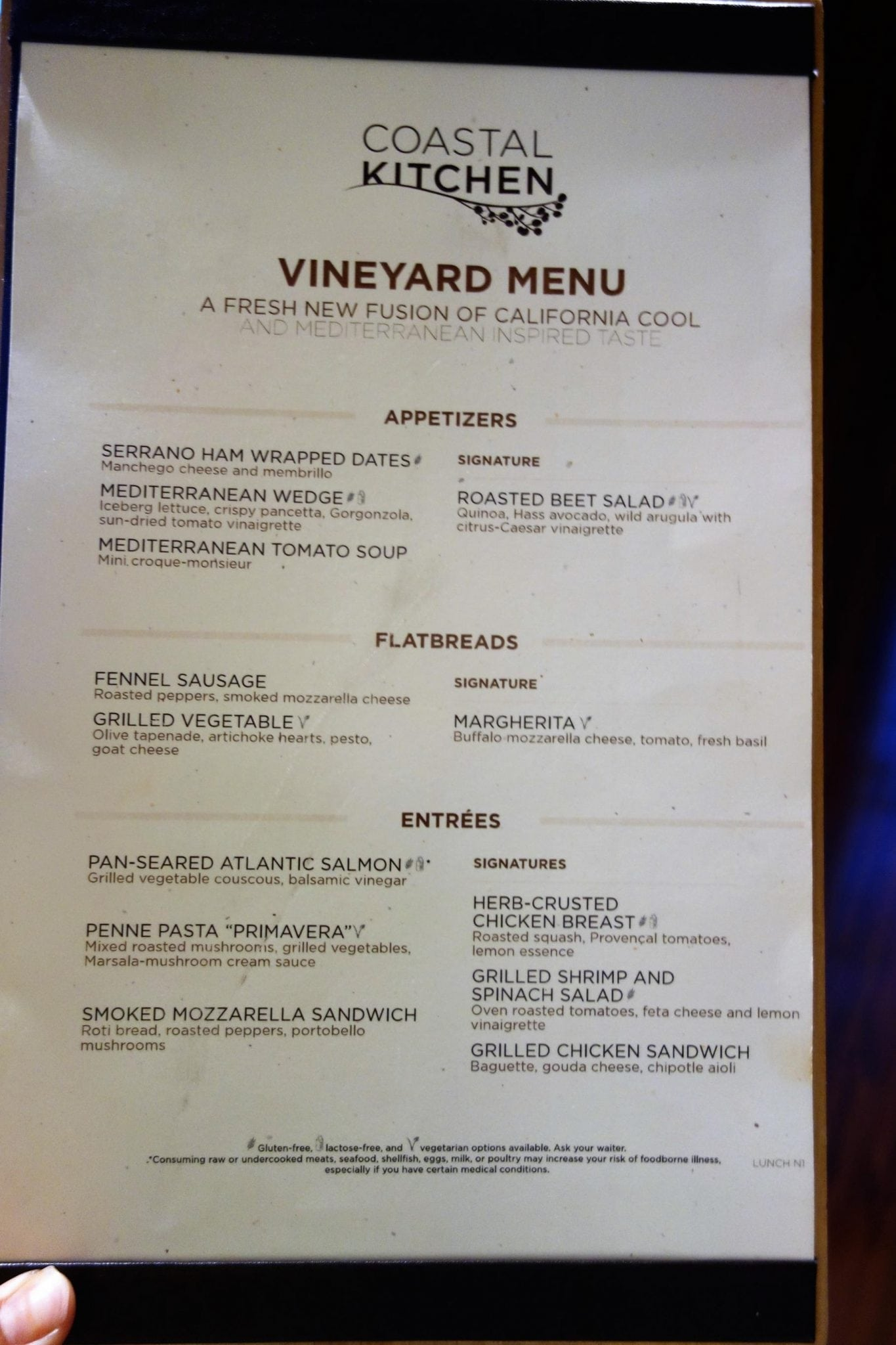 Anthem of the Seas Menus