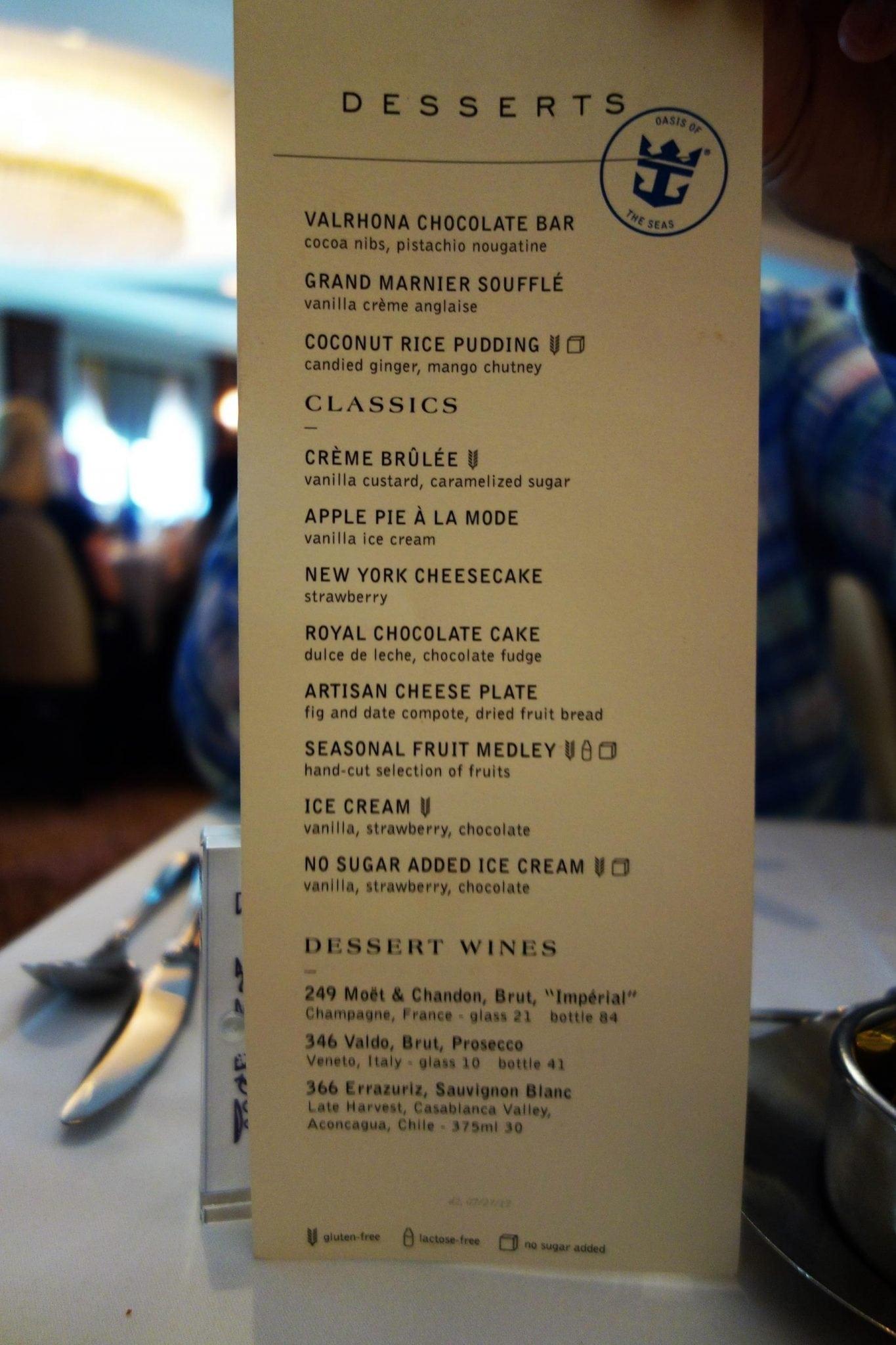 royal caribbean liberty of the seas main dining room menu - decor