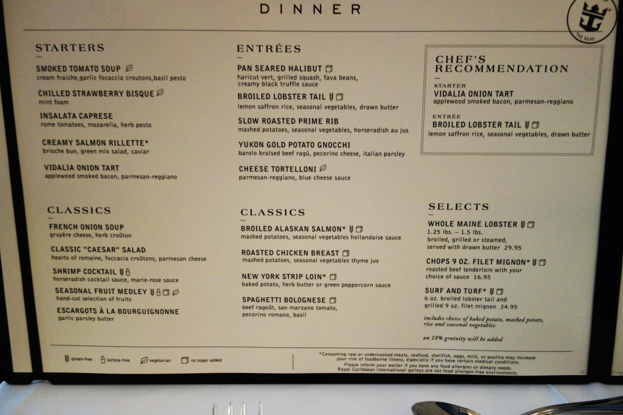 Majesty Of The Seas Dining Room Dessert Menu
