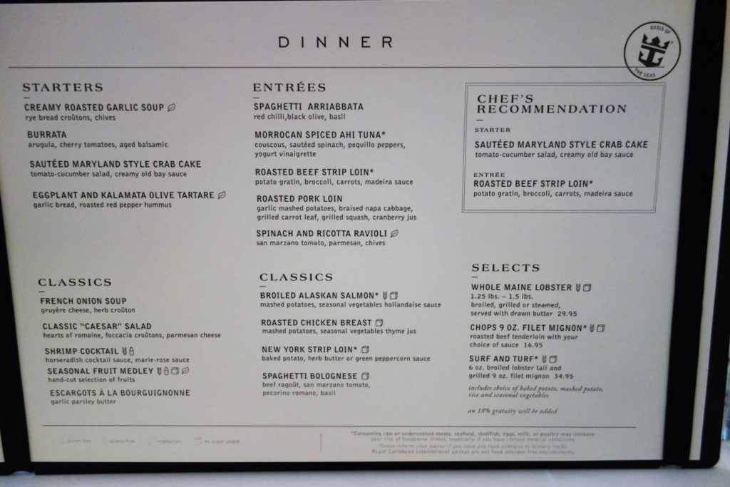 Allure of the seas main dining room menu