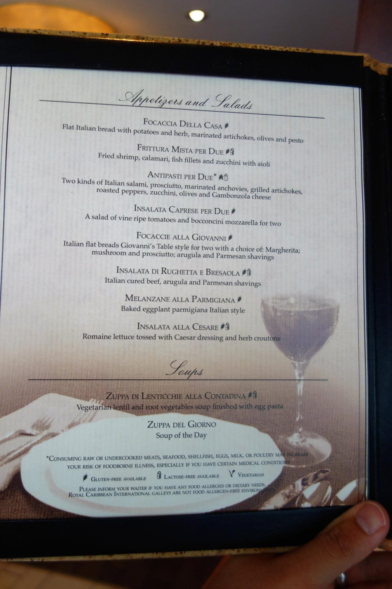 New main dining room menus on oasis of the seas for The table restaurant menu