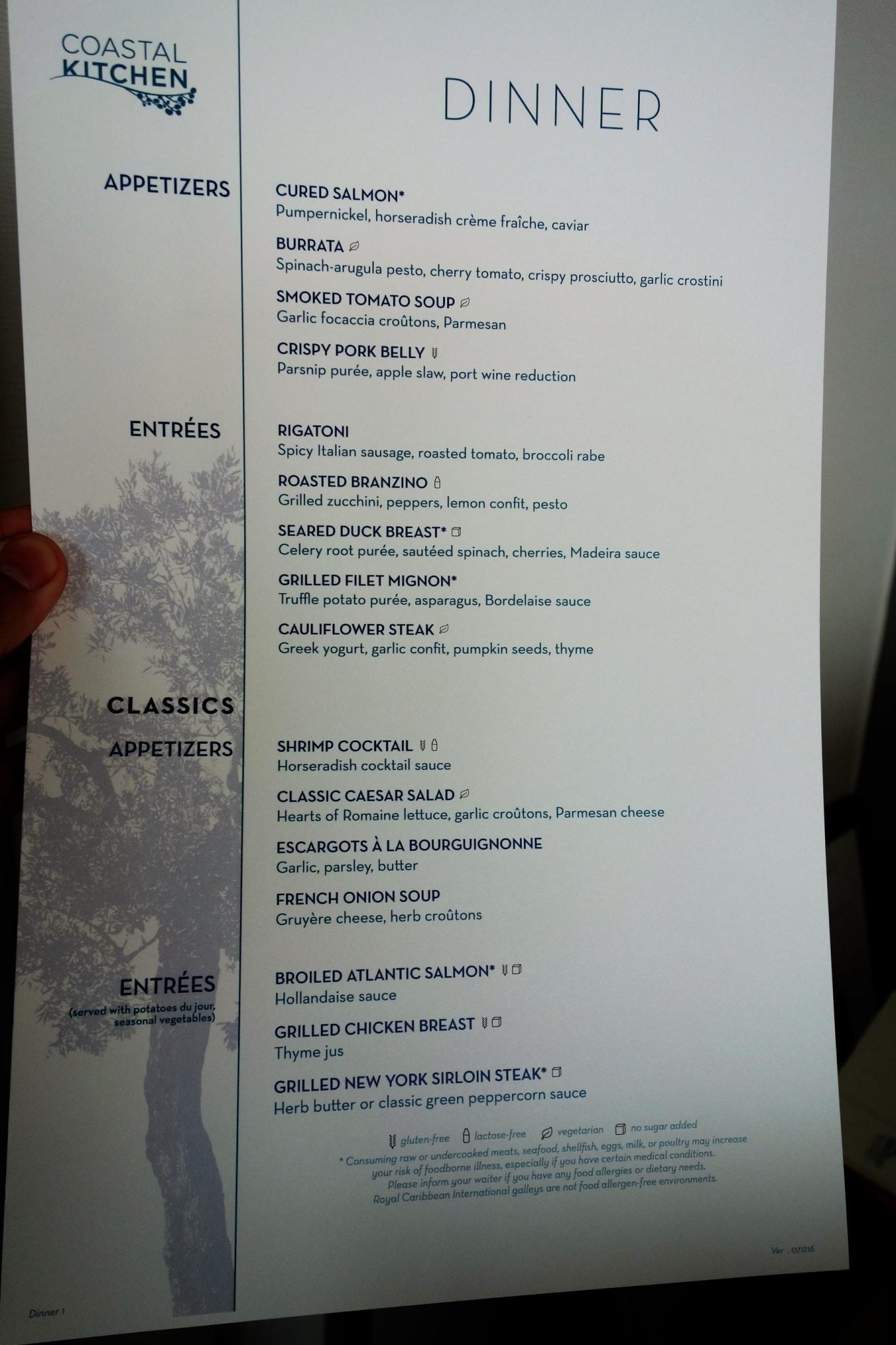 Compass Room Restaurant Menu