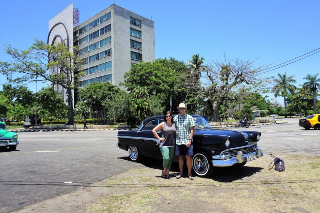 Us in Front of our Classic Car in Havana Cuba