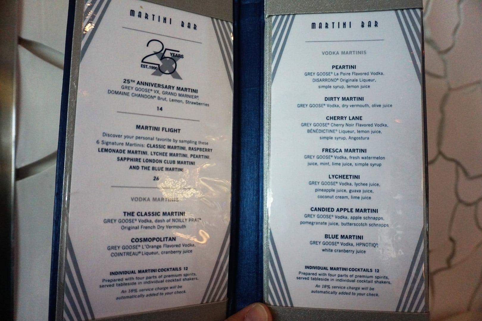 Celebrity Eclipse Bar Guide with Menus | EatSleepCruise com