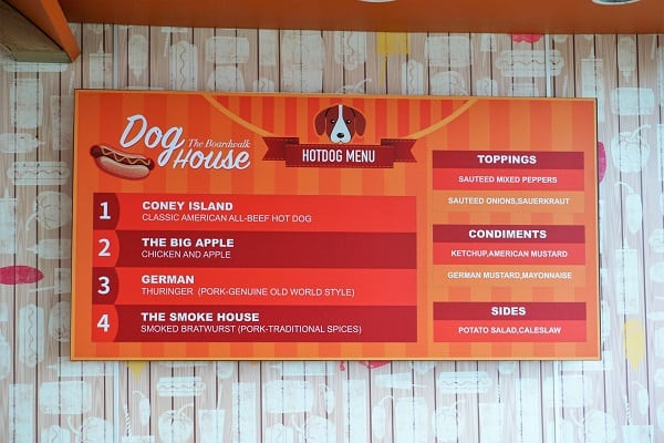 Dog House Menu on Mariner of the Seas