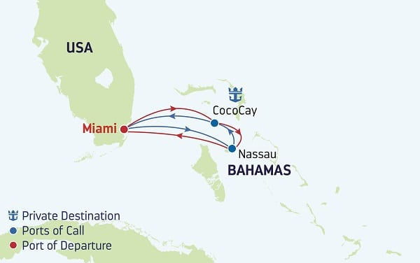 Mariner of the Seas 3 Day Bahamas Cruise itinerary