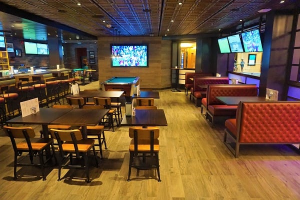 Inside Playmakers Sports Bar and Arcade on Mariner of the Seas